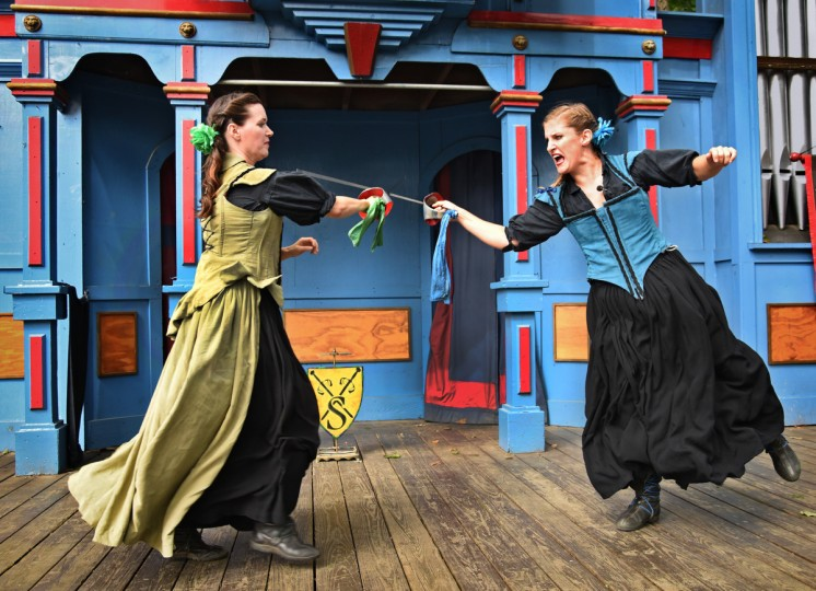 The Steele SIsters, played by Nicole Skelly, left, and Samantha McDonald, right, are in their 4th season at the Maryland Renaissance Festival. They relish the interaction with the audience. (Amy Davis/Baltimore Sun)