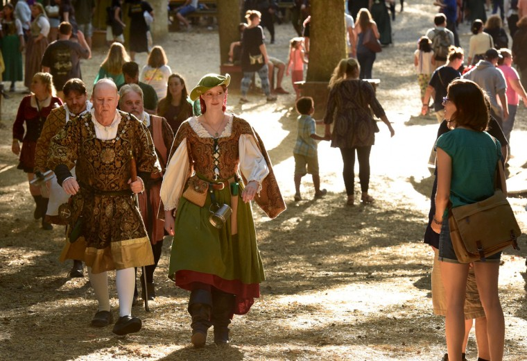 Members of the Royal Court mingle in Revel Grove with visitors at the Maryland Renaissance Festival, now in its 40th season. (Amy Davis/Baltimore Sun)