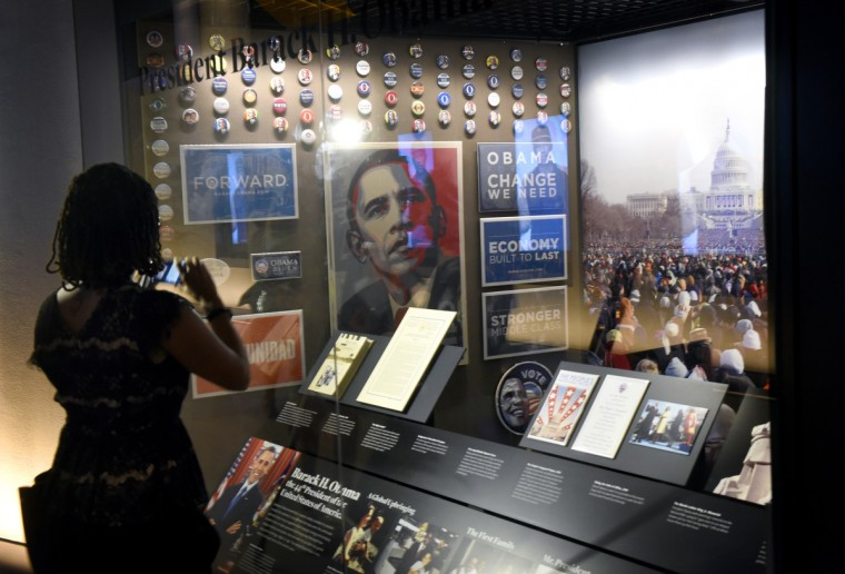 A display commemorating the the candidacy and presidency of Barack Obama. (Kim Hairston/Baltimore Sun) 26902.