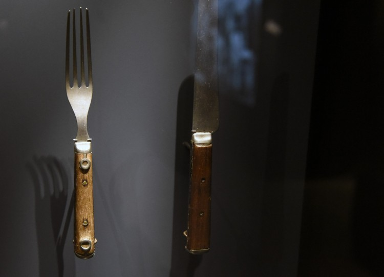 A fork and knife owned by Harriet Tubman are on display at the National Museum of African American History and Culture. (Kim Hairston/Baltimore Sun)