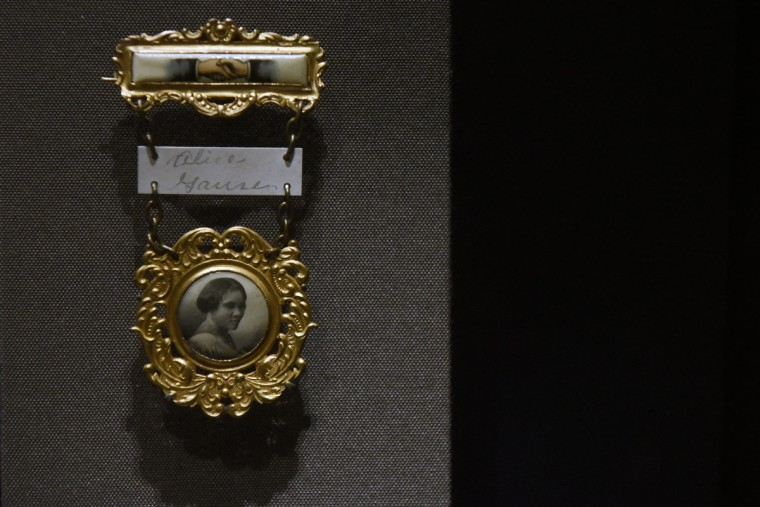 Madame C.J. Walker annual convention badge. Walker, an entrepreneur who developed a line of hair care products, was the first female African American millionaire.    (Kim Hairston/Baltimore Sun)