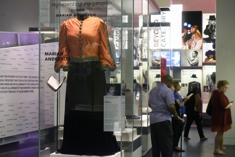 The silk jacket and black velvet skirt  worn by Marian Anderson at her 1939 Lincoln Memorial concert is on display at the National Museum of African American History and Culture. (Kim Hairston/Baltimore Sun)
