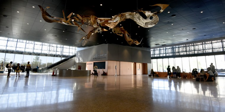 A sculpture by Richard Hunt hands in the lobby of the National Museum of African American History and Culture. (Kim Hairston/Baltimore Sun)