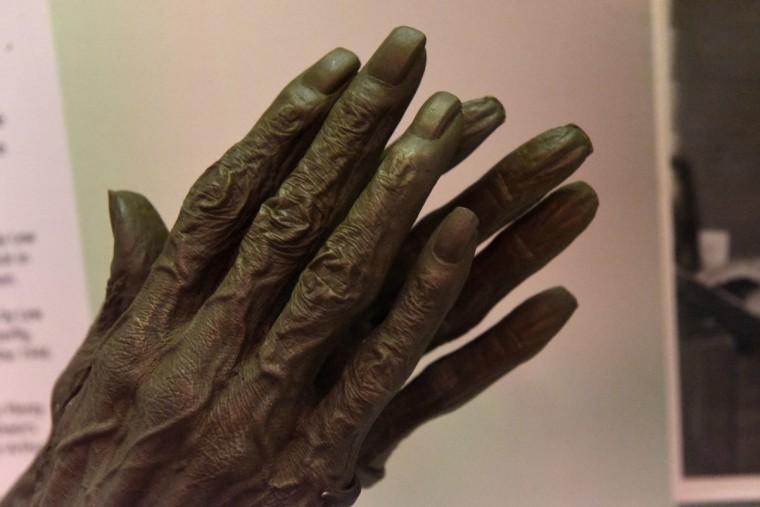 Life cast of Eubie Blake's hands made by Bobbiegita Walker shortly before Blake's death. (Kim Hairston/Baltimore Sun)