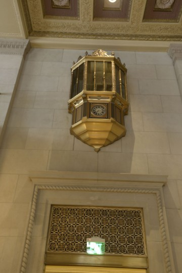 "The guard's tower at still watches over the lobby of the Lenore. ""The Federal Reserve Bank in Baltimore is equipped with tear-gas protection in addition to the sub-machine riot guns and other arms stacked ready for use in the watch tower of its lobby,"" The Sun reported in 1940. (Christina Tkacik/Baltimore Sun)"