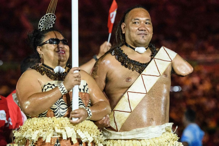 Members of Tonga's delegation enter during the opening ceremony of the Rio 2016 Paralympic Games at the Maracana stadium in Rio de Janeiro on September 7, 2016. (YASUYOSHI CHIBA/AFP/Getty Images)