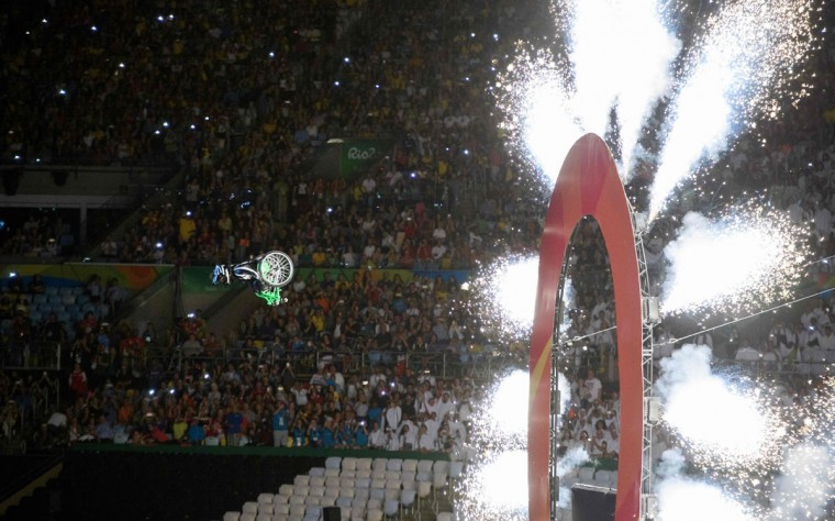 Aaron Wheelz extreme wheelchair athlete makes a spectacular entrance at the start of the Opening Ceremony of the Rio 2016 Paralympic Games at the Maracana Stadium in Rio de Janeiro, Brazil, on September 7, 2016. (Photo by Thomas Lovelock/OIS/IOC via AFP)