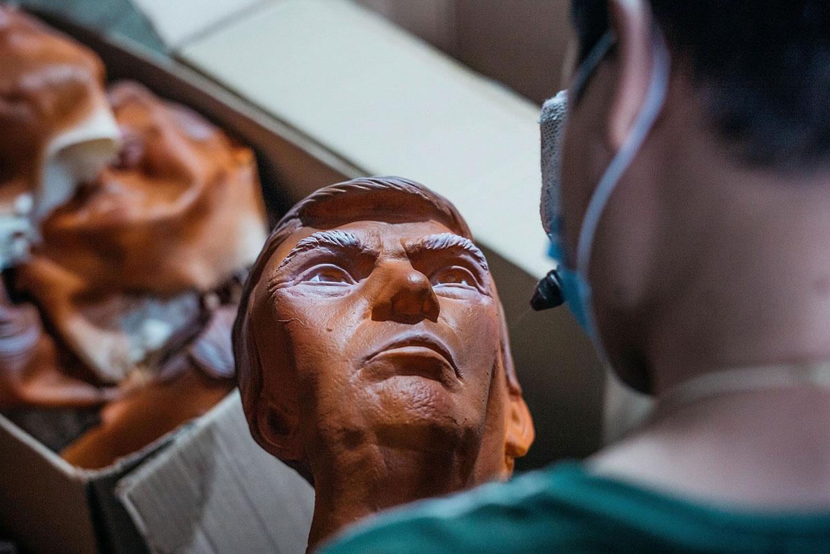 Factory in China makes Donald Trump masks
