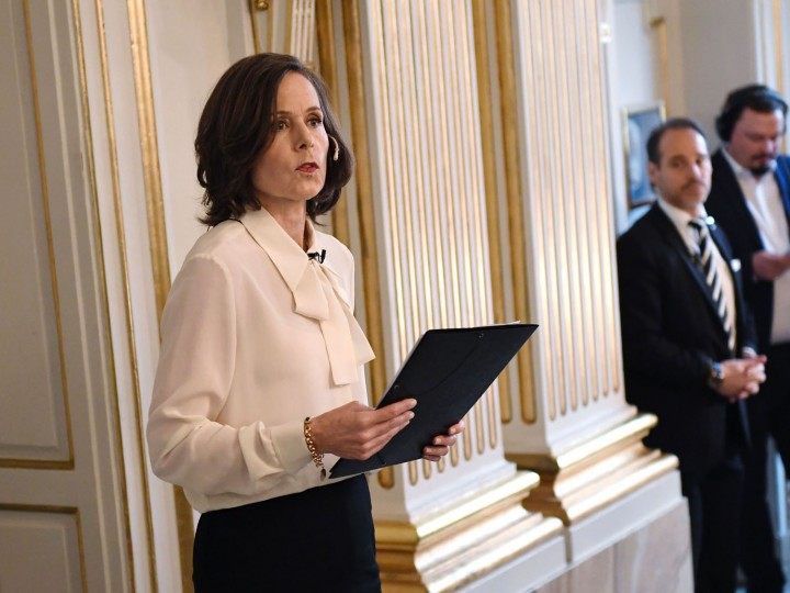 Permanent Secretary of the Swedish Academy Sara Danius announces that Bob Dylan is awarded the 2016 Nobel Prize in Literature during a presser at the Old Stockholm Stock Exchange Building in Stockholm, on October 13, 2016.  (TT News Agency/Jonas Ekstromer/AFP/Getty Images)
