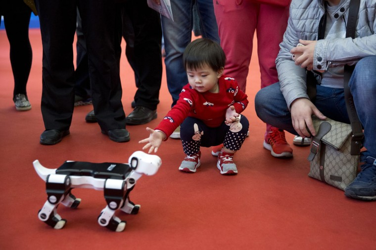 A child reaches out to a robotic dog displayed at the World Robot Conference in Beijing, China, Friday, Oct. 21, 2016. The conference showcased China's burgeoning robot industry as the nation seeks to increase the use of robots in its manufacturing and service industries. (AP Photo/Ng Han Guan)