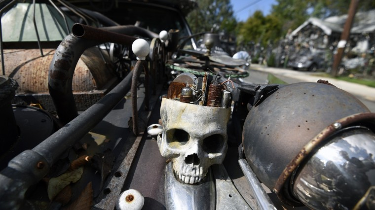 A skull is affixed to the Volvo wagon art car, Demise, created by A. Clarke Bedford.  (Kim Hairston/Baltimore Sun)