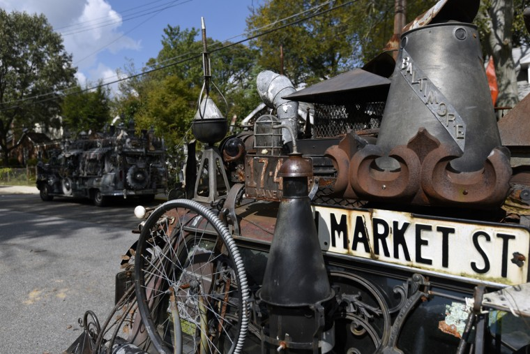Demise, one of A. Clarke Bedford's four art cars is seen outside his Nicholson Street home.  (Kim Hairston/Baltimore Sun)