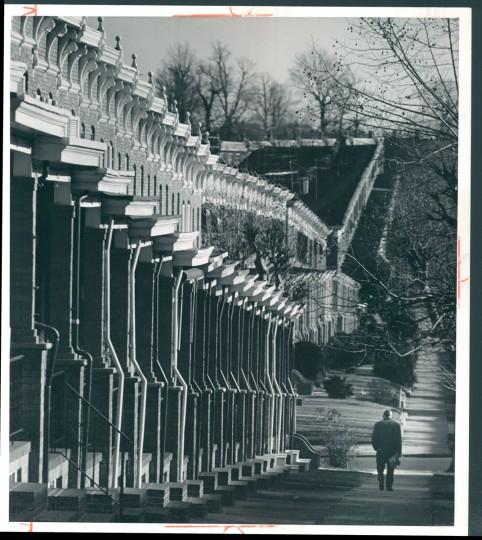 Chesterfield Avenue row houses, 1962. (Richard Stacks/Baltimore Sun)