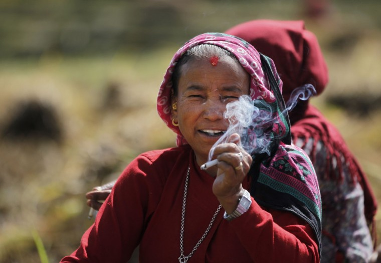 A Nepalese farmer takes a cigarette break while harvesting paddy in Chunnikhel, on the outskirts of Kathmandu, Nepal, Wednesday, Oct. 19, 2016. According to the World Bank, agriculture is the main source of food, income, and employment for the majority in Nepal. (AP Photo/Niranjan Shrestha)
