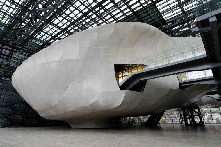 "A picture shows the new Rome convention center named ""The cloud"" (""La Nuvola"" in Italian) designed by Italian architect Massimiliano Fuksas on October 19, 2016 in the Eur business district in Rome. The congress center will be inaugurated on October 29, 2016. (ALBERTO PIZZOLI/AFP/Getty Images)"