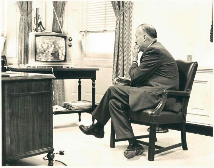 Mayor McKeldin watches Orioles in City Hall, photo dated October 6, 1966. (Baltimore Sun)