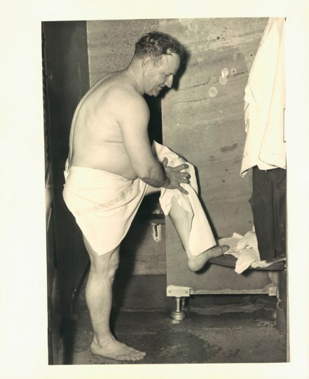 Man bathing at the Walters Public Bath. Most of Baltimore's public baths were built by railroad mogul Henry Walters, and thus bore his name. But they were operated by the city of Baltimore. Undated Photo. (Joshua Cosden/Baltimore Sun)