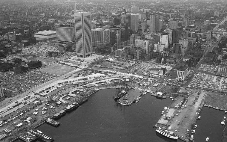 Baltimore's inner harbor in 1973, before it was redeveloped. (Marshall Janoff)