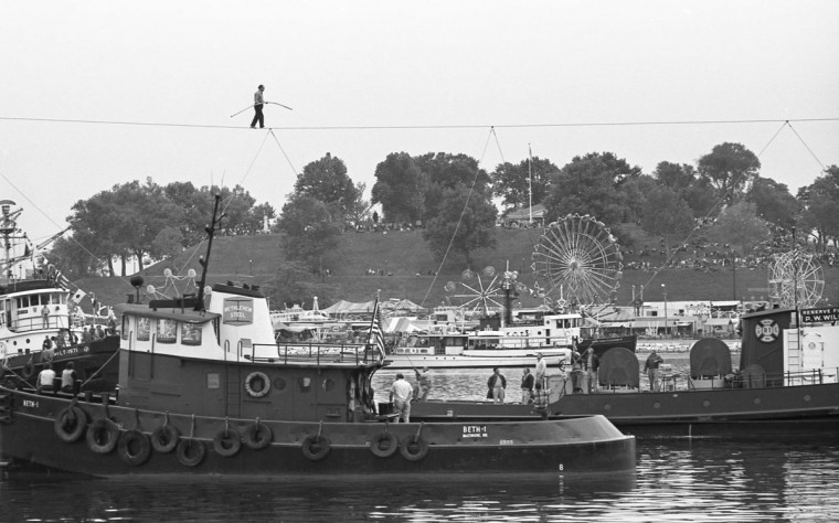 Famous tightrope walker Karl Wallenda at the 1973 City Fair in the Inner Harbor. (Marshall Janoff)