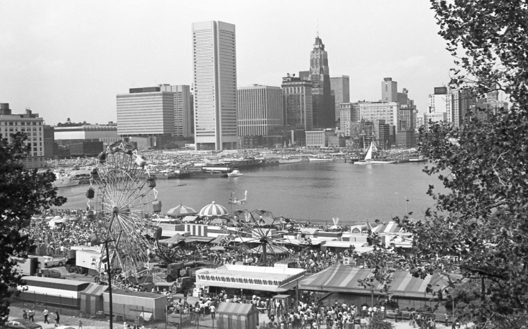 Baltimore's inner harbor in September 1973, before it was redeveloped. (Marshall Janoff)
