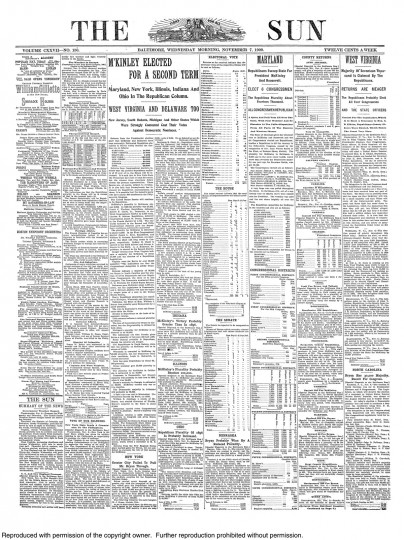 1900 Sun front page: McKinley elected for a second term