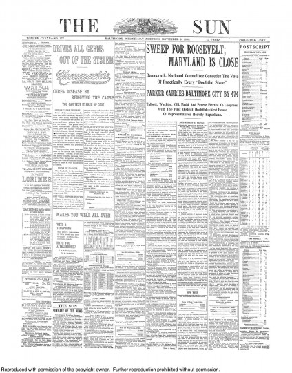 1904 Sun front page: Sweep for Roosevelt; Maryland is close