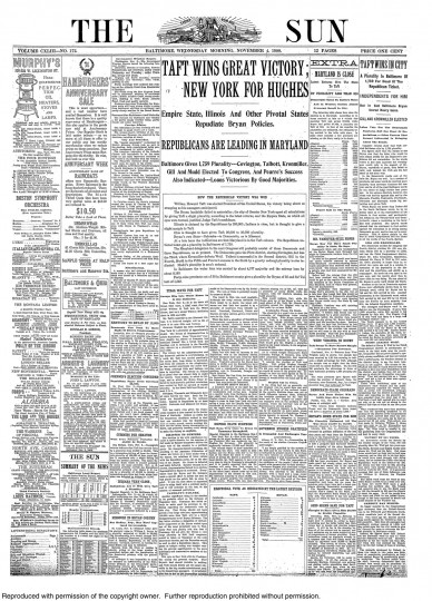 1908 Sun front page: Taft wins great victory
