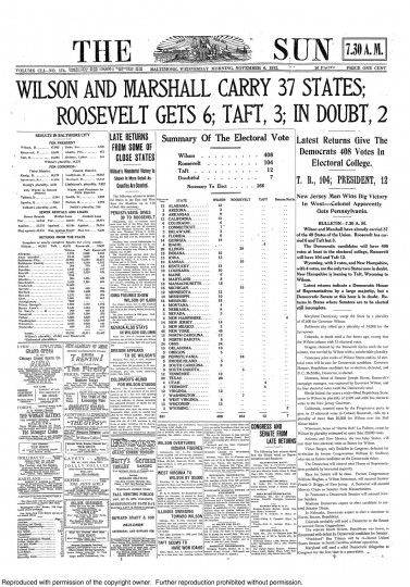 1912 Sun front page: Wilson and Marshall carry  37 states; Roosevelt gets 6; Taft 3; In doubt, 2