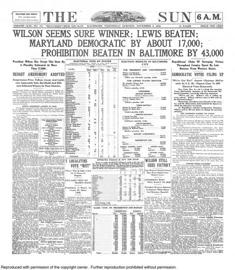 1916 Sun front page: Wilson seems sure winner