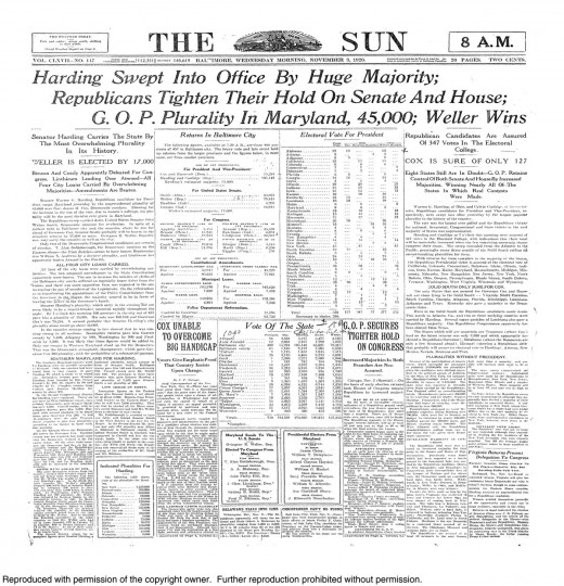 1920 Sun front page: Harding swept into office by huge majority