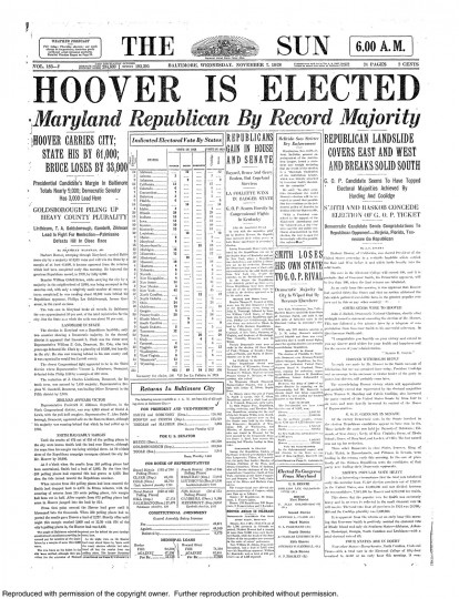 1928 Sun front page: Hoover is elected