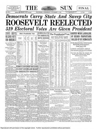 1936 Sun front page: Roosevelt reelected;  519 electoral votes are given president