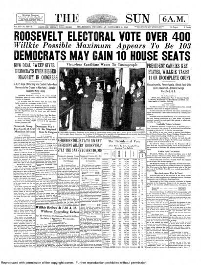 1940 Sun front page: Roosevelt electoral vote over 400