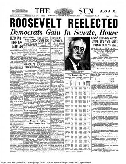 1944 Sun front page: Roosevelt reelected; Democrats gain in Senate, House