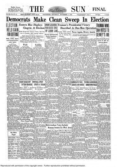 1948 Sun front page: Democrats make clean sweep in election; Truman wins 304 votes to Dewey's 189