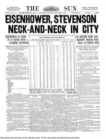 1952 Sun front page: Eisenhower, Stevenson neck-and-neck in city