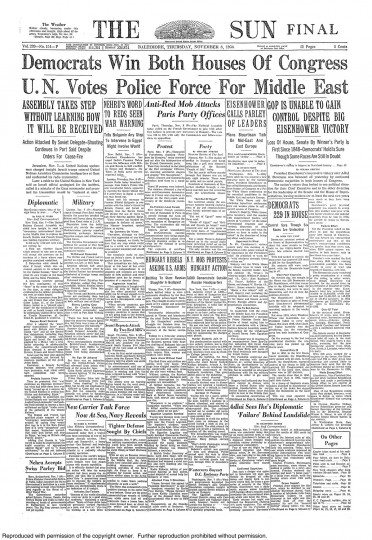 1956 Sun front page: Democrats win Both Houses of Congress;  GOP is unable to gain control despite big Eisenhower victory