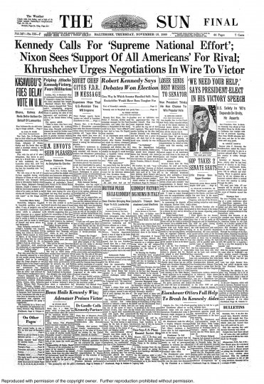 1960 Sun front page: Kennedy Calls for 'Supreme National Effort'