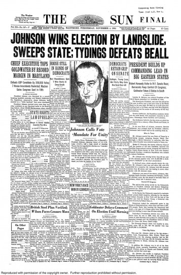 1964 Sun front page: Johnson wins election by landslide, sweeps state
