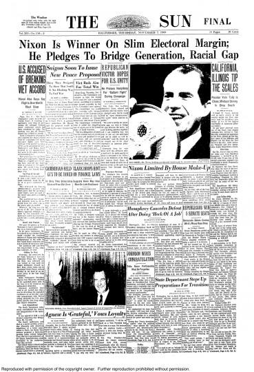 1968 Sun front page: Nixon is winner on slim electoral margin; he pledges to bridge generation, racial gap