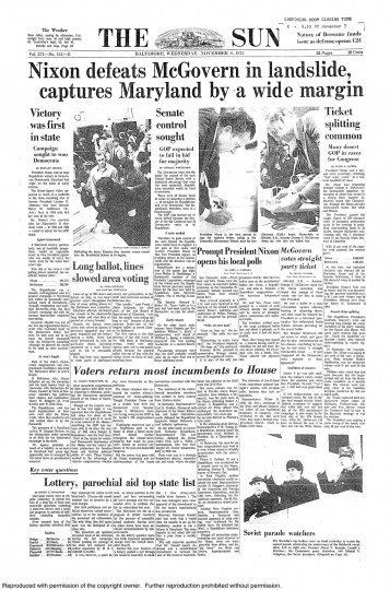 1972 Sun front page: Nixon defeats McGovern in landslide, captures Maryland by a wide margin