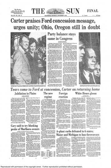 1976 Sun front page: Carter praises Ford concession message, urges unity (Nov. 4, 1976)