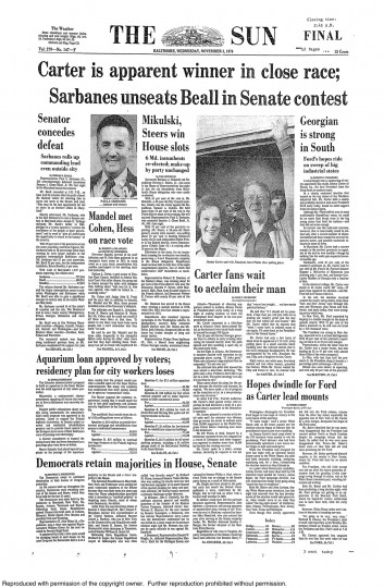 1976 Sun front page: Carter is apparent winner in close race (Nov. 3, 1976)
