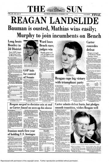 1980 Sun front page: REAGAN LANDSLIDE