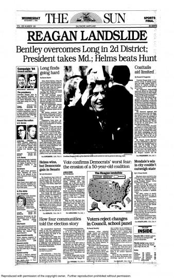 1984 Sun front page: REAGAN LANDSLIDE