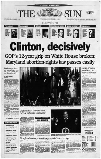 1992 Sun front page: Clinton, decisively
