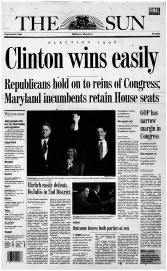 1996 Sun front page: Clinton wins easily