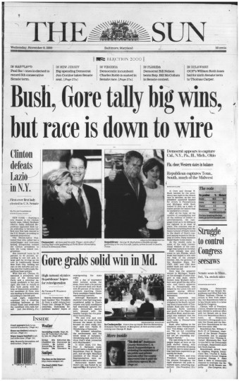 2000 Sun front page: Bush, Gore tally big wins but race is down to wire (Nov. 8, 2000)