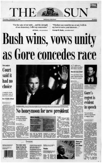 2000 Sun front page: Bush wins, vows unity as Gore concedes race (Dec. 14, 2000)