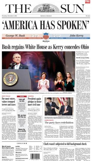 2004 Sun front page: 'America has spoken' (Nov. 4, 2004)